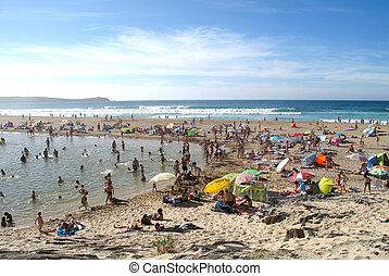 strand, fyllda, av, tourists