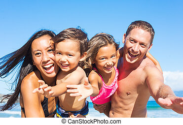 strand, gezin