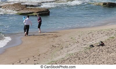 strand, gezin, vrolijke