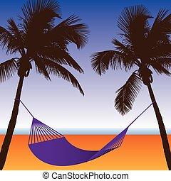 strand, hangmat, scène