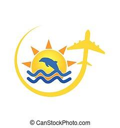 strand, ikon, hos, delfin farve, vektor