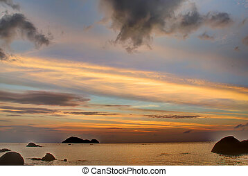 strand, in, ondergaande zon