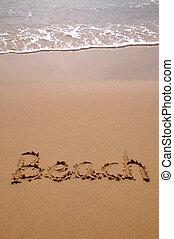 strand, in, zand, verticaal