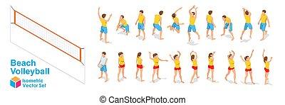 strand, isometric, set, figuren, volleybal