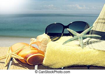 strand, items, om te, de, tropisch landschap, de zomervakantie