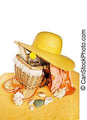 strand, items, vrijstaand, op wit, achtergrond, conceptueel beeld, van, summertime, vakantie