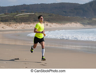 strand, jonge, rennende , fitness, langs, kleding, man