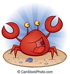 strand, karakter, spotprent, krab
