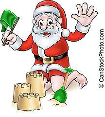strand, kerstmis, kerstman, spotprent
