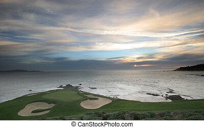 strand, kiezelsteen, veld voor golfspel, golf, monterey