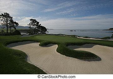 strand, kiezelsteen, veld voor golfspel, golf, usa