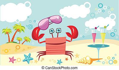 strand, krabba