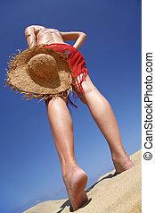 strand, kvinna, hatt