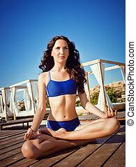 strand, kvinna, yoga