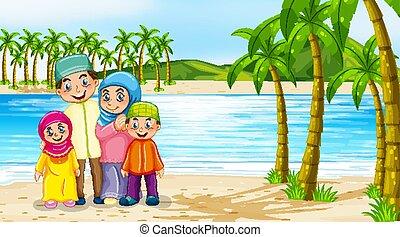 strand, leden, familie scène