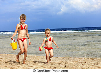 strand., leka, barn