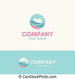 strand, liefde, logo