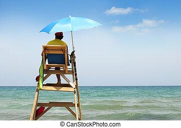 strand, lifeguard, på, pligt