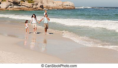strand, lykkelige, familie