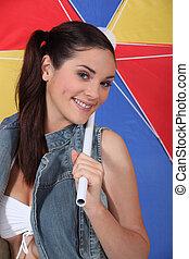 strand, lysande, kvinna, paraply