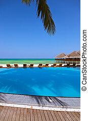 strand, maldiverna, cafe, slå samman