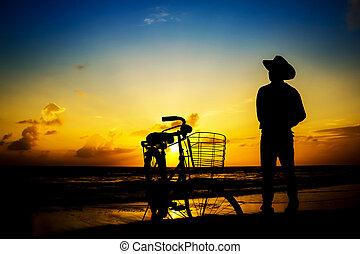 strand., mann, morgen