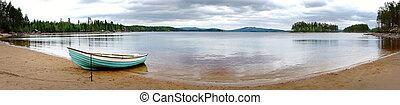 strand, med, förtöjda båt