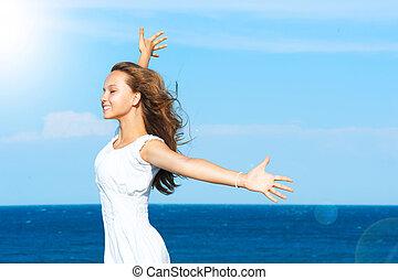 strand, meisje, hebbend plezier, mooi