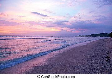 strand, meno, indonesie, ondergaande zon , gili
