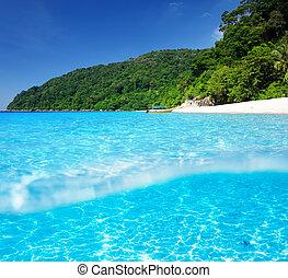 strand, met, wit zand, bodem, onderwatermening
