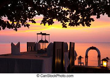 strand, middag sätta, solnedgång, restaurang