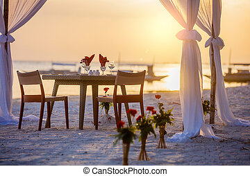 strand, middag sätta, solnedgång, romantisk