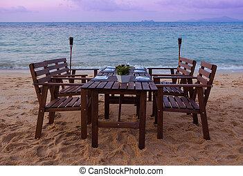 strand, middag, tjänande, solnedgång
