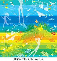 strand, model, seamless, zomer