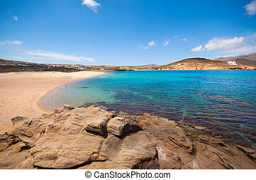 strand, mykonos, ftelia