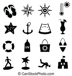 strand, nautisch, zomer, iconen