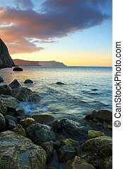strand, ondergaande zon , kalm, oceaan