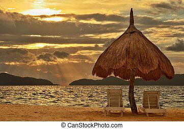 strand, ondergaande zon , paradijs