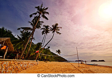 strand, ondergaande zon , sporten