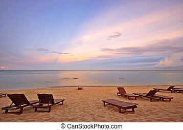 strand, ondergaande zon