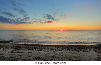 strand, op, ondergaande zon