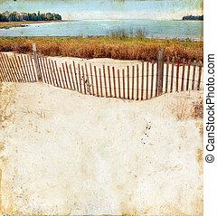 strand, på, a, grunge, bakgrund