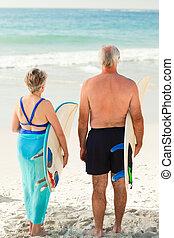 strand, paar, hun, surfboard