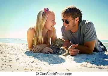 strand, paar, liefde, vrolijke