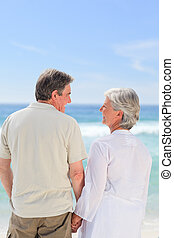 strand, paar, vrolijke