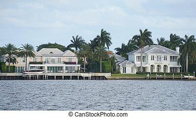 strand, palm, florida, west, aanzicht