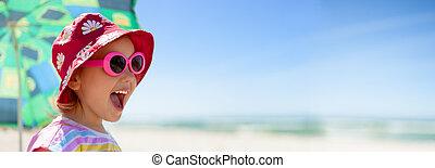 strand, panorama, barn, lycklig, sommar, semester