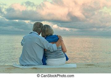 strand, par, äldre
