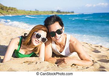 strand, par, lycklig, nöje, ha, ung