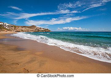 strand, paradijs, griekenland, stad, mykonos